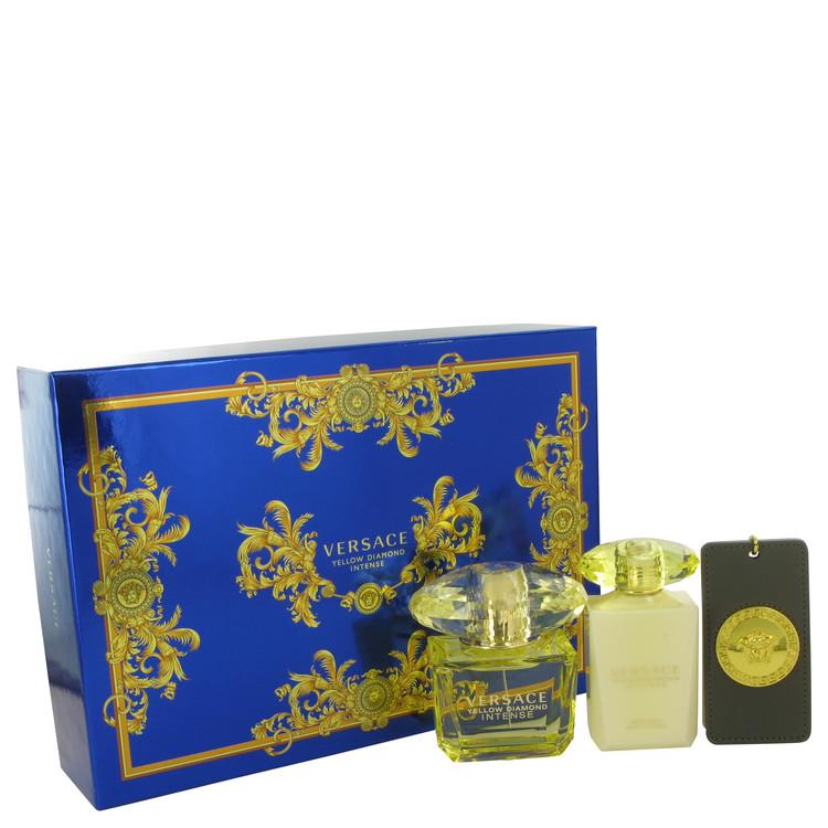 Versace Yellow Diamond Intense for Women, Gift Set (3 oz EDP Spray + 3.4 oz Body Lotion + Versace Bag Tag)