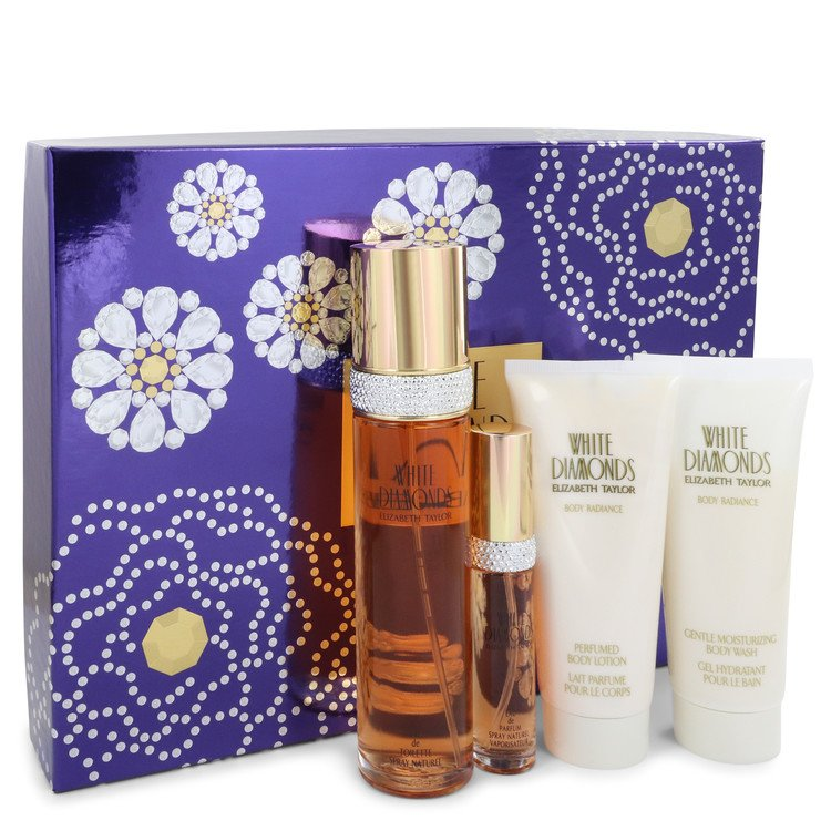 White Diamonds Gift Set -- Gift Set - 3.4 oz Eau De Toilette Spray + 3.4 oz Body Wash + 3.4 oz Body Cream + .5 oz Mini EDP Spray for Women