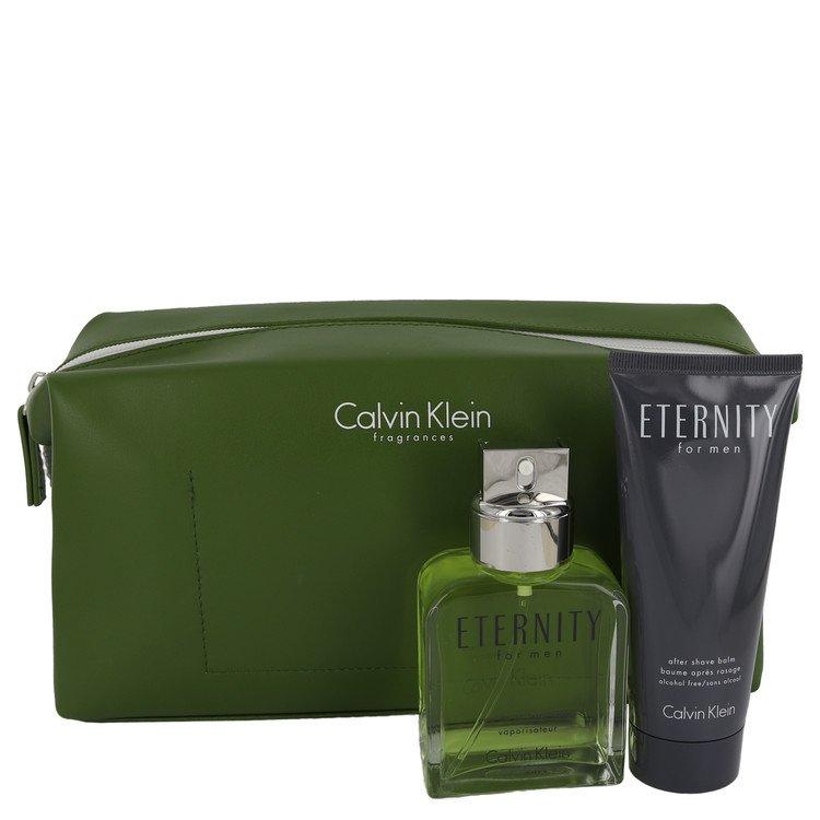 ETERNITY by Calvin Klein for Men Gift Set -- 3.4 oz Eau De Toilette Spray + 3.4 oz After Shave Balm in Eternity Men Bag