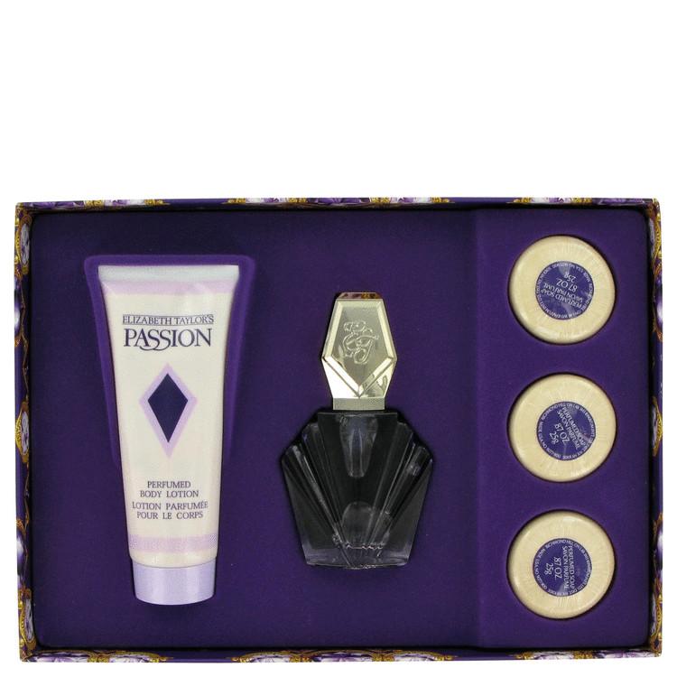 Passion Gift Set -- Gift Set - 1.5 oz Eau De Toilette Spray + 3.3 oz Body Lotion + 3 Soaps for Women