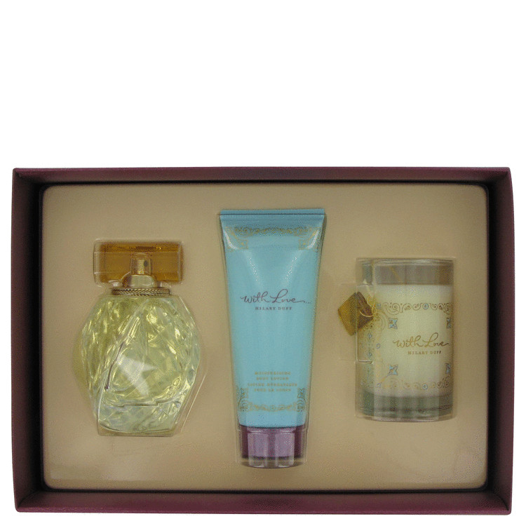 With Love Gift Set -- Gift Set - 3.4 oz Eau De Toilette Spray + 3.4 oz Body Lotion + Candle for Women