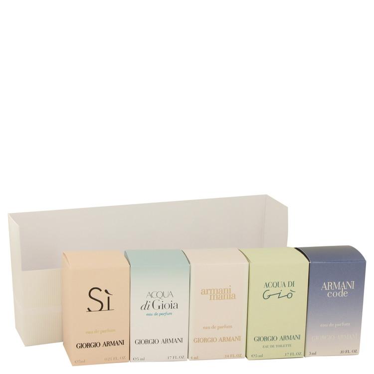 Acqua Di Gioia for Women, Gift Set (Travel Mini Set Includes Armani Code, Armani Si, Acqua Di Gioia, Mania, and Acqua Di Gio)