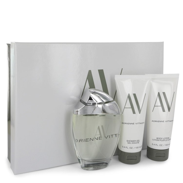 AV by Adrienne Vittadini for Women Gift Set -- 3 oz Eau De Parfum Spray + 3.3 Body Lotion + 3.3 oz Shower Gel