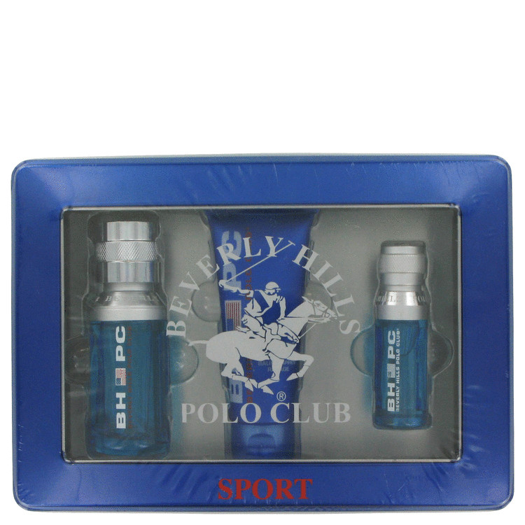 Beverly Hills Polo Club Sport for Men, Gift Set (1.7 oz EDT Spray + 1/2 oz EDT Spray + 2.5 oz After Shave Balm)