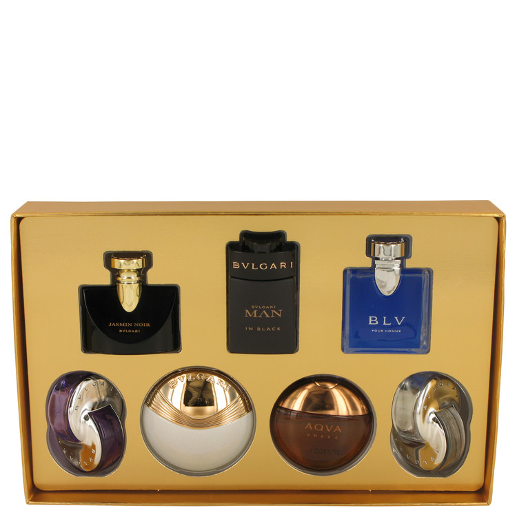 Bvlgari Man In Black by Bvlgari for Men Gift Set -- Seven piece Iconic Miniature Collection All .17 oz Travel Mini's (Omnia Amet