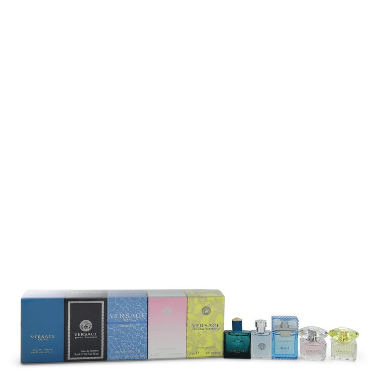 Bright Crystal by Versace Women's Gift Set -- The Best of Versace Men's and Women's Miniatures Collection Includes Versace Eros, Versace Pour Homme, Versace Man Eau Fraiche, Bright Crystal, and Versace Yellow Diamond