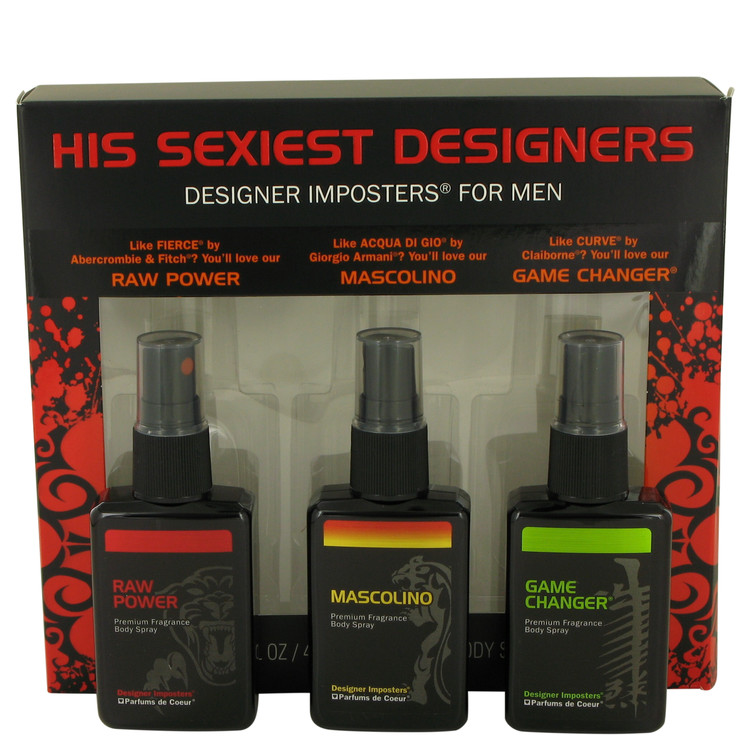 Designer Imposters Mascolino by Parfums De Coeur for Men Gift Set -- Sexiest Designers Set Includes Raw Power, Mascolino and Gam