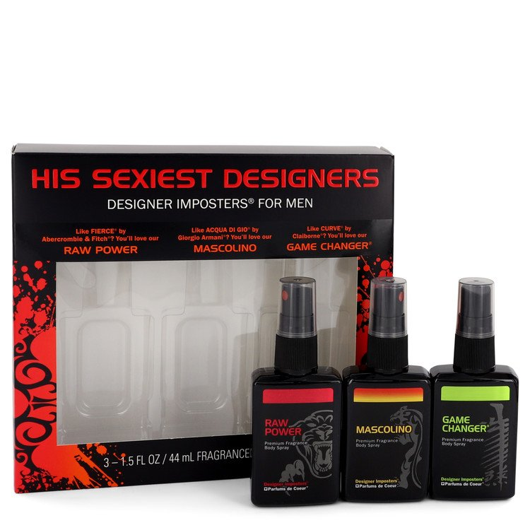 Designer Imposters Raw Power by Parfums De Coeur for Men Gift Set -- Sexiest Designers Set Includes Raw Power, Mascolino and Gam