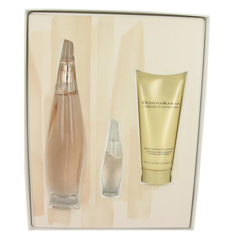 Liquid Cashmere Blush for Women, Gift Set (3.4 oz EDP Spray + 3.4 oz Body Lotion + .24 oz Mini EDP)