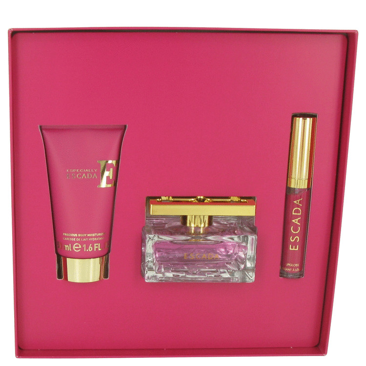 Especially Escada for Women, Gift Set (1.6 oz EDP Spray +1.6 oz Body Moisturizer + .11 oz Lip Goss)