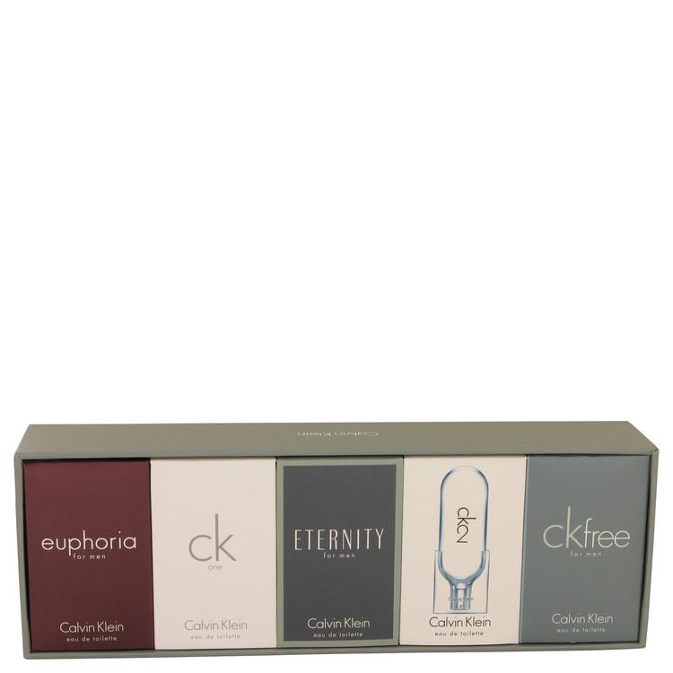 ETERNITY by Calvin Klein for Men Gift Set -- Deluxe Travel Mini Set Includes Euphoria, CK One, Eternity, Ck 2 and CK Free, All a