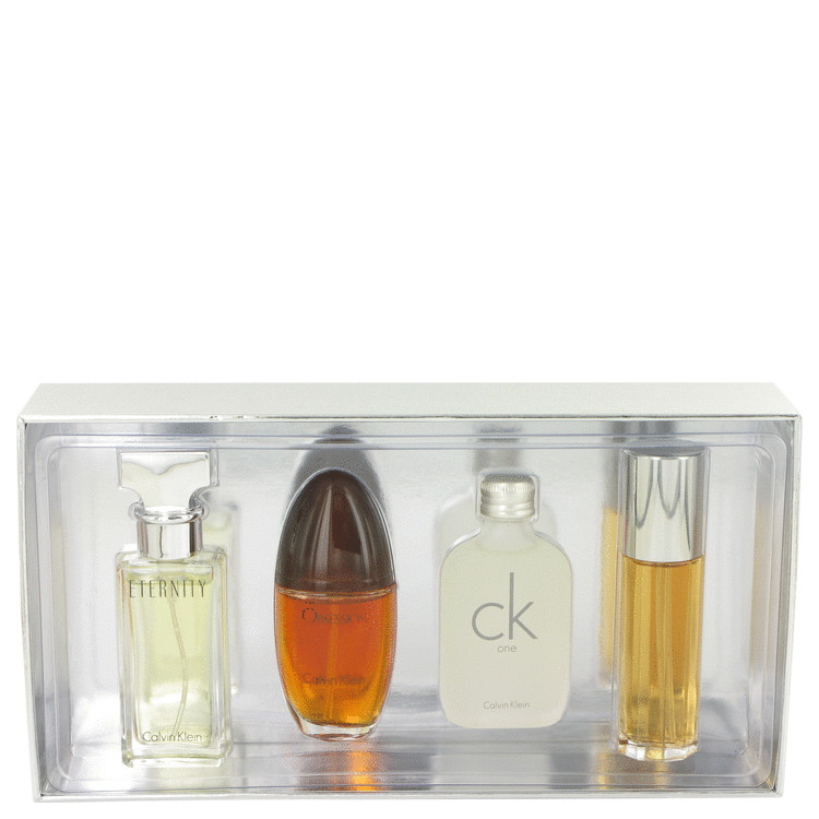 ETERNITY by Calvin Klein for Women Gift Set -- Mini Variety Gift Set Includes Eternity, Obsession Ck One, Escape, All 1/2 oz Spr