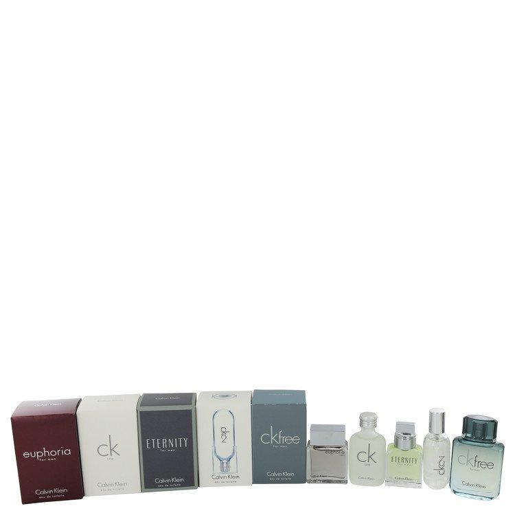 Euphoria by Calvin Klein for Men Gift Set -- Deluxe Travel Mini Set Includes Euphoria, CK One, Eternity, Ck 2 and CK Free