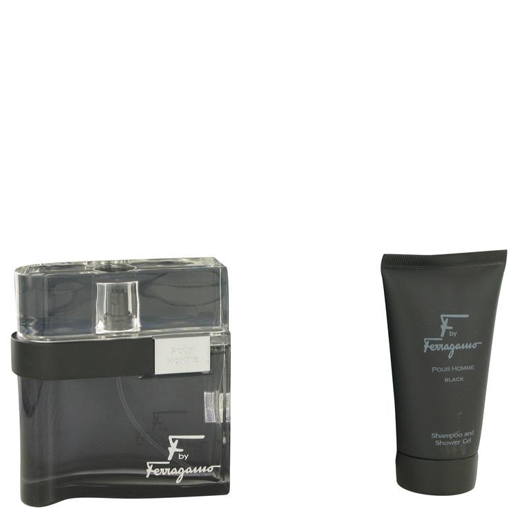 F Black for Men, Gift Set (3.4 oz EDT Spray + 2.5 oz Shower Gel + Free Travel Pouch)