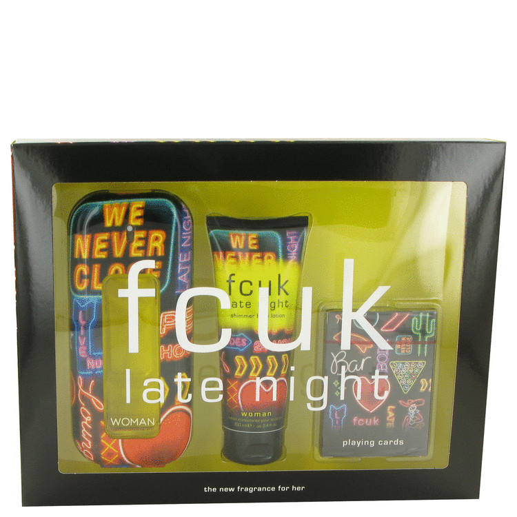 Fcuk Late Night for Women, Gift Set (3.4 oz EDT Spray + 3.4 oz Body Lotion + Free Playing Cards)