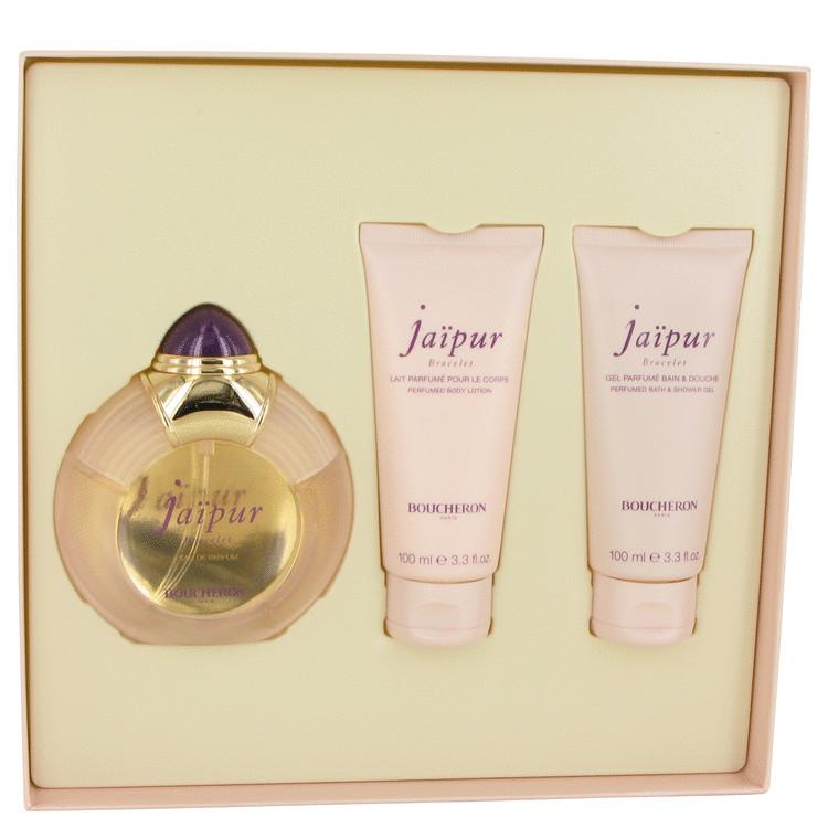 Jaipur Bracelet for Women, Gift Set (3.3 oz EDP Spray + 3.3 oz Body Lotion + 3.3 oz Shower Gel)