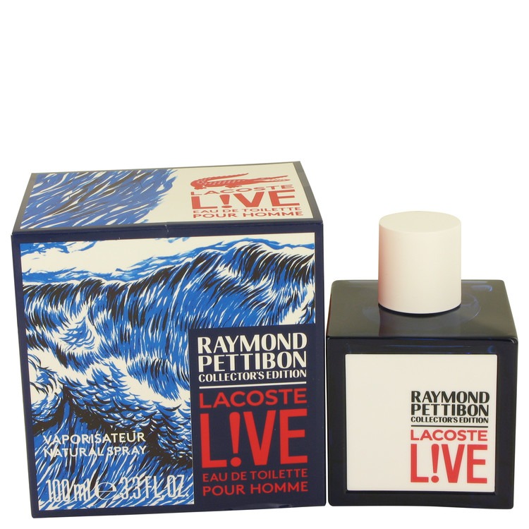 Lacoste Live by Lacoste for Men Eau DE Toilette Spray (Limited Edition Raymond Pettibon Bottle) 3.4 oz