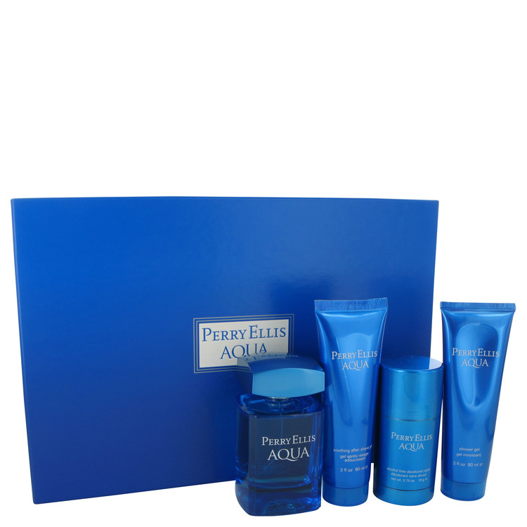 Perry Ellis Aqua for Men, Gift Set (3.4 oz EDT Spray + 2.75 oz Deodorant Stick + 3 oz After Shave Gel + 3 oz Shower Gel)