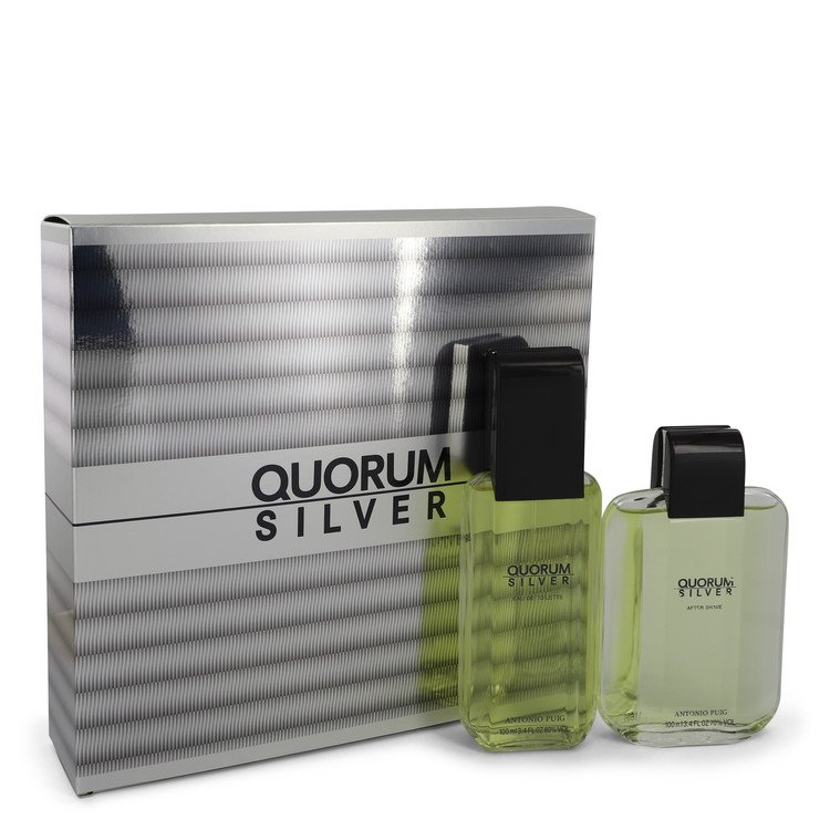 Quorum Silver for Men, Gift Set (3.4 oz EDT Spray + 3.4 oz After Shave)