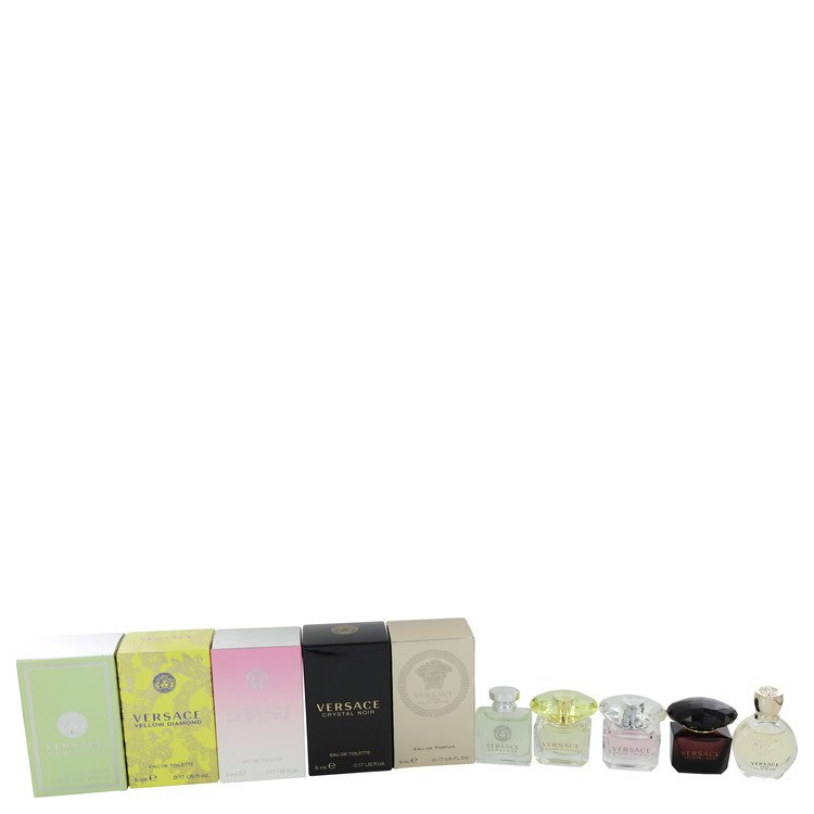 Versace Eros by Versace for Women Gift Set -- Deluxe Mini Set Includes Versace Yellow Diamond, Versence, Crystal Noir, Eros, and