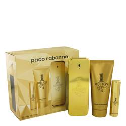 1 Million Cologne by Paco Rabanne -- Gift Set - 3.4 oz Eau De Toilette Spray + .34 oz Mini EDT Spray + 3.4 oz Shower Gel
