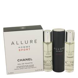 Allure Homme Sport Mini by Chanel, 3 x .7 oz Mini EDT Spray + 2 Refills for Men