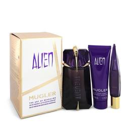 Alien Perfume by Thierry Mugler -- Gift Set - 2 oz Eau De Parfum Spray + .3 oz Mini EDP Refillable Spray + 1.7 oz Shower Gel