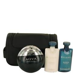 Aqua Pour Homme Cologne by Bvlgari -- Gift Set - 3.4 oz Eau De Toilette Spray + 2.5 oz After Shave Balm +2.5 oz Shower Gel + Pouch