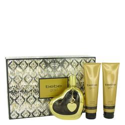 Bebe Gold Perfume by Bebe -- Gift Set - 3.4 oz Eau De Parfum Spray + 3.4 oz Body Lotion + 3.4 oz Shower Gel