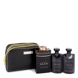 Bvlgari Man In Black Cologne by Bvlgari -- Gift Set - 3.4 oz Eau De Parfum Spray + 2.5 oz After Shave Balm +2.5 oz Shower Gel + Free Pouch