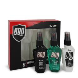 Bod Man Black Cologne by Parfums De Coeur -- Gift Set - Three 1.8 oz Body Sprays Includes Bod Man Black + Most Wanted + Really Ripped Abs