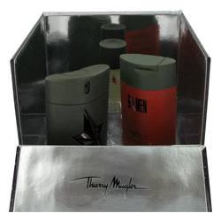 B Men Cologne by Thierry Mugler -- Gift Set - 1.7 oz Eau De Toilette Spray + 3.5 oz Hair & Body Shampoo + .7 oz Deodorant Stick