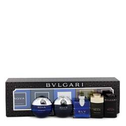 Bvlgari Man In Black Cologne by Bvlgari -- Gift Set - Travel Size Gift Set Includes Bvlgari Aqua Atlantique, Aqua Pour Homme, BLV, Man Wood Essence, Man in Black all in .17 oz sizes