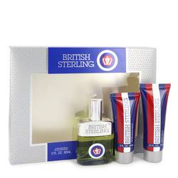 British Sterling Cologne by Dana -- Gift Set - 2.5 oz Cologne Spray + 2.5 oz Body Wash + 2 oz After Shave Balm