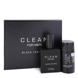 Clean Black Leather Cologne by Clean -- Gift Set - 3.4 oz Eau De Toilette Spray + 2.6 oz Deodorant Stick