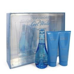 Cool Water Perfume by Davidoff -- Gift Set - 3.4 oz Eau De Toilette Spray + 2.5 oz Body Lotion + 2.5 oz Shower Breeze