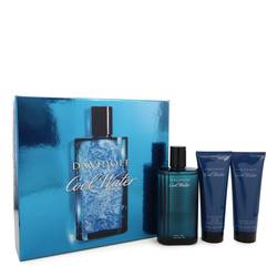 Cool Water Cologne by Davidoff -- Gift Set - 4.2 oz Eau De Toilette Spray + 2.5 oz After Shave Balm + 2.5 oz Shower Gel