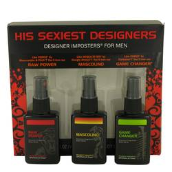 Designer Imposters Mascolino Cologne by Parfums De Coeur -- Gift Set - Sexiest Designers Set Includes Raw Power, Mascolino and Game Changer all in 1.5 oz Body Sprays