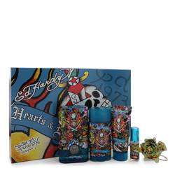 Ed Hardy Hearts & Daggers Cologne by Christian Audigier -- Gift Set - 3.4 oz Eau De Toilette Spray + 3 oz Shower Gel + 2.75 oz Deodorant Stick + .25 oz Mini EDT Spray + Free Key Chain