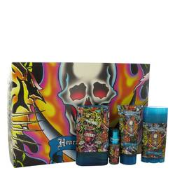 Ed Hardy Hearts & Daggers Cologne by Christian Audigier -- Gift Set - 3.4 oz Eau De Toilette Spray + 3 oz Shower Gel + 2.75 oz Deodorant Stick + .25 oz Mini EDT Spray