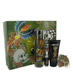 Ed Hardy Cologne by Christian Audigier -- Gift Set - 3.4 oz Eau De Toilette Spray + 3 oz Shower Gel + .25 oz Mini EDT + Keychain