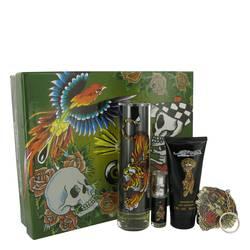 Ed Hardy Cologne by Christian Audigier -- Gift Set - 3.4 oz Eau De Toilette Spray + 3 oz Shower Gel + .25 oz Mini EDT + Keychain