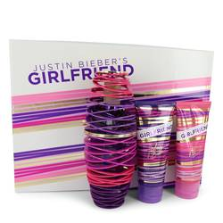 Girlfriend Perfume by Justin Bieber -- Gift Set - 3.4 oz Eau De Parfum Spray + 3.4 oz Body Lotion + 3.4 oz Shower Gel