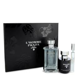 Prada L'homme Cologne by Prada -- Gift Set - 3.4 oz Eau De Toilette Spray + .34 oz Mini EDT Spray + 3.4 oz Shower Cream