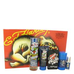 Love & Luck Cologne by Christian Audigier -- Gift Set - 3.4 oz Eau De Toilette Spray + 3 oz Hair & Body Wash + 2.75 oz Deodorant Stick + .25 oz Mini EDT Spray + Luggage Tag