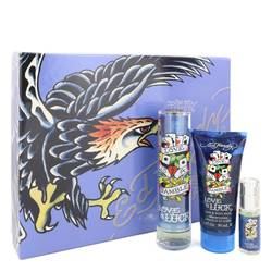 Love & Luck Cologne by Christian Audigier -- Gift Set - 1.7 oz Eau De Toilette Spray + 3 oz Hair & Body Wash + .25 oz Mini EDT