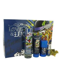 Love & Luck Cologne by Christian Audigier -- Gift Set - 3.4 oz Eau De Toilette Spray + 3 oz Hair & Body Wash + 2.75 oz Deodorant Stick + .25 oz Mini EDT Spray + Tatoo Design Key Chain