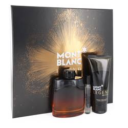 Montblanc Legend Night Cologne by Mont Blanc -- Gift Set - 3.3 oz Eau De Parfum Spray +.25 oz Mini EDP Spray + 3.3 oz After Shave Balm
