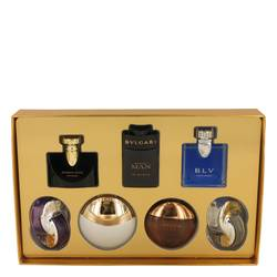 Omnia Amethyste Perfume by Bvlgari -- Gift Set - Seven piece Iconic Miniature Collection All .17 oz Travel Mini's (Omnia Amethyste, Jasmin Noir EDP, Aqua Divina, Man In Black EDP, Aqua Amara, BLV Men, Omnia Crystalline)