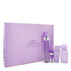 Perry Ellis 360 Purple Perfume by Perry Ellis -- Gift Set - 3.4 oz Eau De Parfum Spray + .25 oz Mini EDP Spray + 2 oz Hand Cream + 4 oz Body Spray
